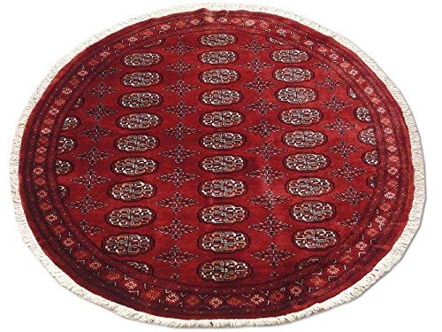 Pak Persian Rugs Tapis Noué Main Boukhara, Bourgogne/Rouge, Laine, Small, 157 X 152 cm