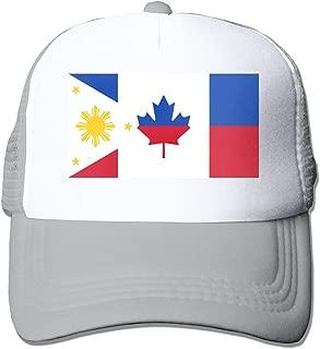 Canada & Philippines Flag Adult Mesh Cap Adjustable Snapback Hats Gray