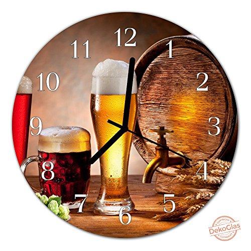Reloj de vidrio by DekoGlas 30cm reloj de pared redondo vidrio acrílico barril de cerveza marrón