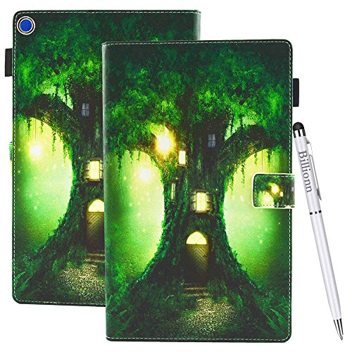 Case for Amazon Fire HD 10 (7th Generation, 2017 Release) [Free Stylus Pen], Colorful Premium Leather Soft TPU Wallet Stand Smart Cover [Auto Wake/Sleep] for Kindle Fire HD 10, Dreamy Tree House