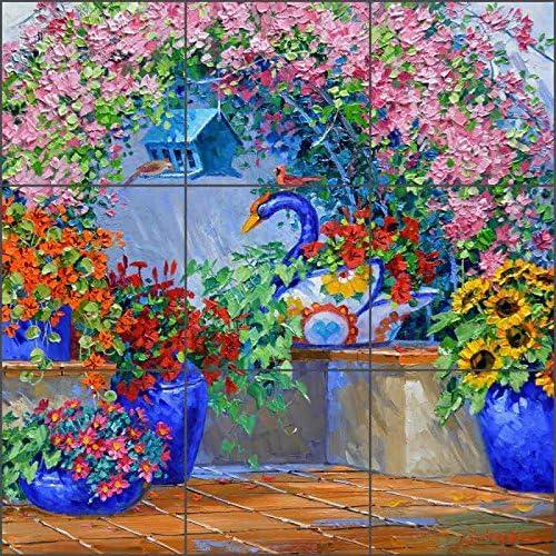 Ceramic Tile Mural Backsplash Flowers Courtyard Floral Celebration By Mikki Senkarik Kitchen Bathroom Shower 24 X 24 8 Tiles