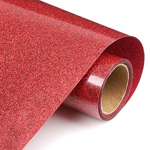 Red Glitter Heat Transfer Vinyl Rolls, 12inx5ft Glitter HTV Vinyl Iron on Vinyl for T Shirts Gifts for Man or Women by TransWonder(Red)