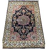 Alfombra de seda hecha a mano de 91 x 1,5 m diseño oriental...