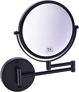 Anpean Wall Mounted Makeup Mirror 7x Magnification with 8 Inch Double Sided Swivel, Matte Black