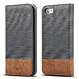 WenBelle for iPhone 5S / SE Case, Stand Feature,Double Layer Shock Absorbing Premium Soft PU Color Matching Leather...