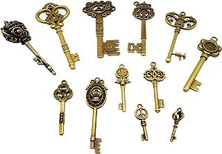 CHuangQi Vintage Skeleton Keys Set, Filigree Steampunk Keys, Antique Bronze Charms Pendants, Pack of 12 Different Style (P...