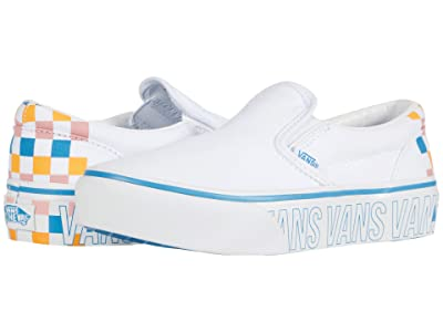 Vans Kids Classic Slip-On Platform (Little Kid) (True White/Multi) Girl