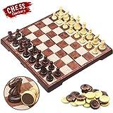 CRMICL Juego de ajedrez magnético de Viaje , Juego de ajedrez 2 en 1 Juego de ajedrez...