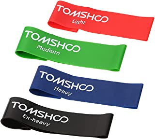 Bundle of 2, Decdeal TOMSHOO Set of 4 Exercise Resistance Loop Bands Latex Gym Strength Training Loops Bands Workout Bands...