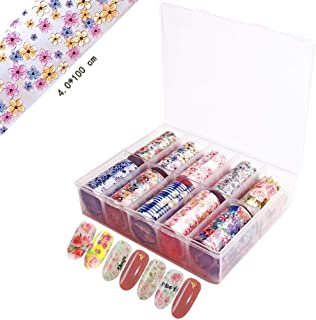 SILPECWEE 10 Rolls Foil Nail Transfer Stickers Tip Starry Sky Rose Flower Nail Wraps Decals Manicure Accessories (1.57inches×39.4inches)
