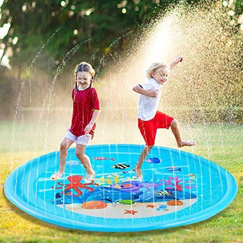Fischmuster Splash Pad, Kinder Baby Pool Pad, Sprinkler Play Matte, Sommer Garten Wasserspielzeug, Pool Pad Spritzen Spielzeug, Wasserspielmatte für Kinder Aktivitäten/Party/Strand/Garten-(BLAU)