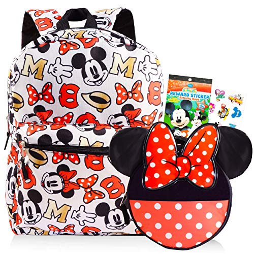 Disney Minnie Mouse Backpack with Lunch Box for Girls Bundle ~ Deluxe 16' Minnie Bag, Insulated Lunch Bag with Bow, and Stickers (Minnie Mouse School Supplies)