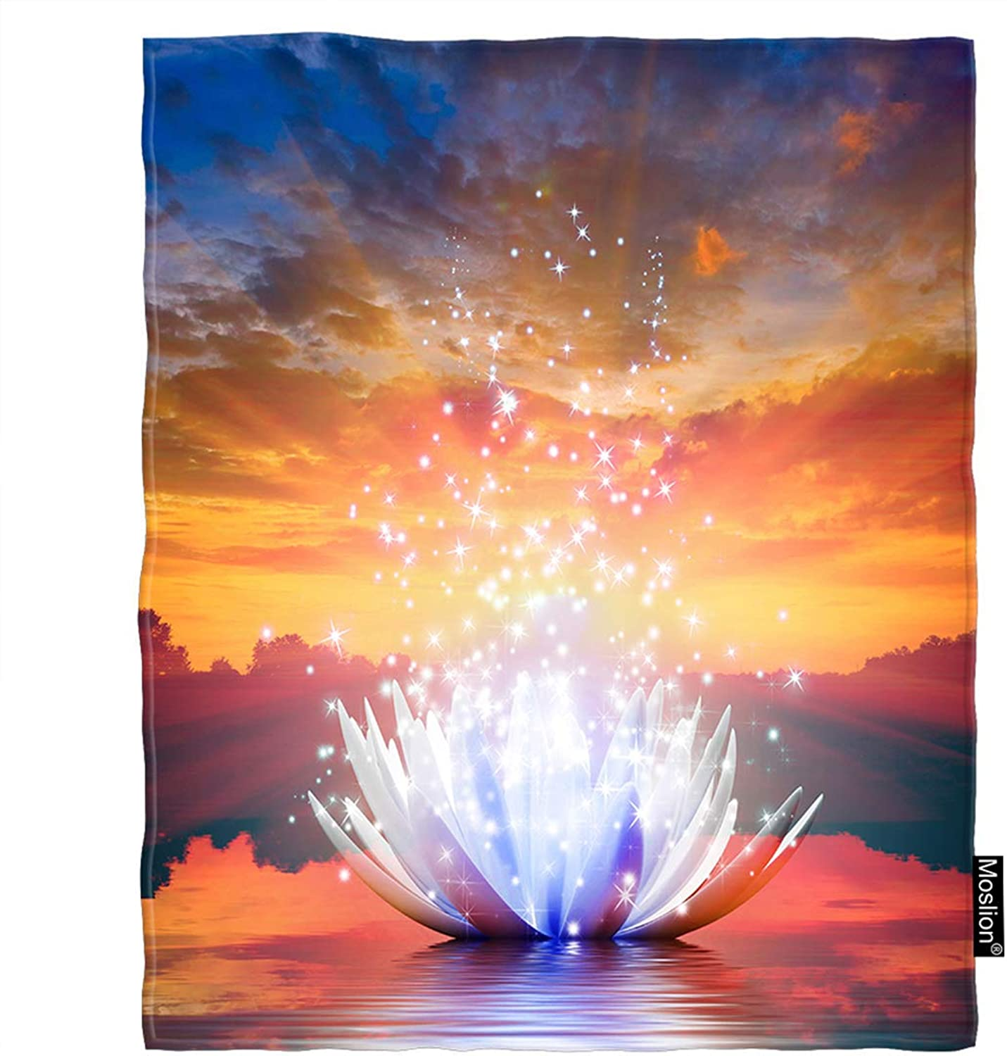 Moslion Lotus Blanket Star Light Lotus Flower on The Lake at Sunset with Trees Cloudy Sky Throw Blanket Flannel Home Decorative Soft Cozy Blankets 60x80 Inch for Adults Kids Sofa White orange