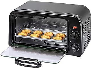 AFDK Mini Horno/Horno tostado/Horno eléctrico/Parrilla eléctrica, 10 L de capacidad, con bandeja de horno y estante, Puerta de vidrio templado visible, Ideal para carne, verduras, pasteles y pa