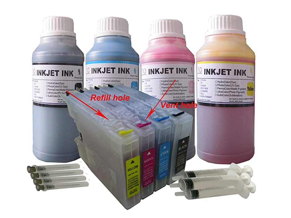 ND Brand Dinsink Refillable Ink Cartridge for Brother LC71 / LC75 / LC79(nonOEM) Ink Cartridges, Brother All-In-One Printers: MFC-J280W MFC-J425W MFC-J435W MFC-5610W MFC-J625DW MFC-J6510DW MFC-J6710DW MFC-J825DW MFC-J835DW...+ 4X250ML ND Brand Bulk Refill Ink Specially Formulated for Brother - Cyan, Yellow, Magenta, and Black Color + 4 Syringes.The item with ND Logo!