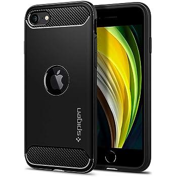 【Spigen】 iPhone SE ケース [第2世代] TPU ソフトケース 米軍MIL規格取得 耐衝撃 衝撃吸収 傷防止 カメラ保護 Qi充電 ワイヤレス充電 アイフォンSE (2020年モデル) カバー シュピゲン ラギッド・アーマー ACS00944 (マット・ブラック)