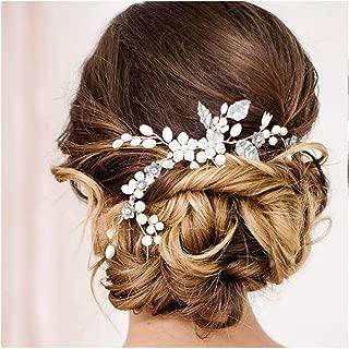 Campsis Wedding Bridal Hair Vine Bride Headpiece Rhinestone Headband Crystal Pearl Headpiece Flower Hair Accessories for Women and Girls Bridesmaid