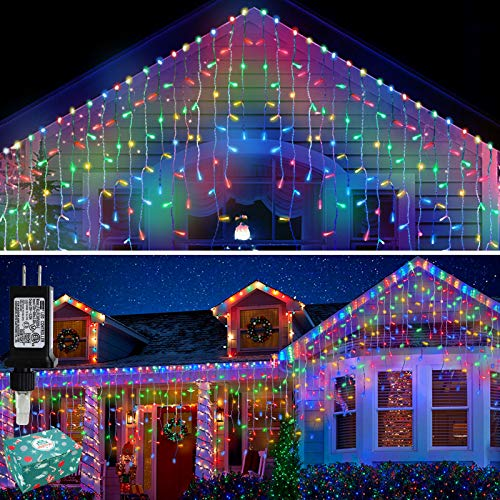 Icicle Lights Outdoor Christmas Lights 400 LED String Lights Curtain Fairy Light with 75 Drops, 33ft 8 Modes Decor for Christmas Thanksgiving Halloween, Multicolor