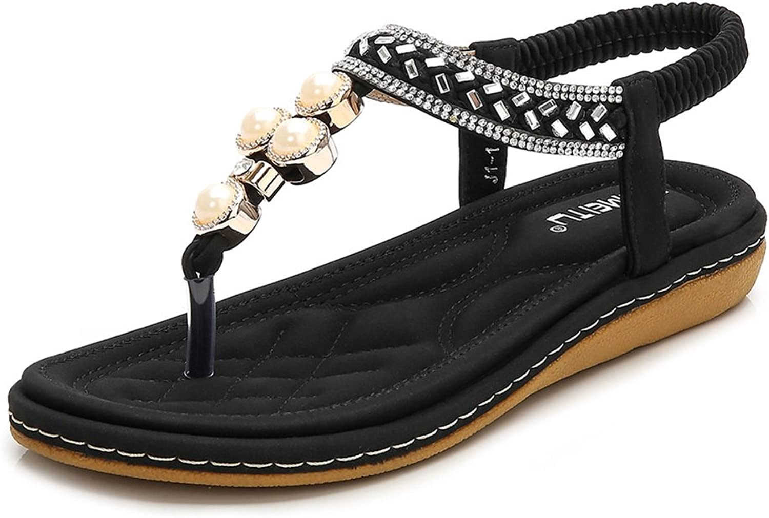Baviue Leather Jeweled Pearls Thong Sandals Womens Sandles