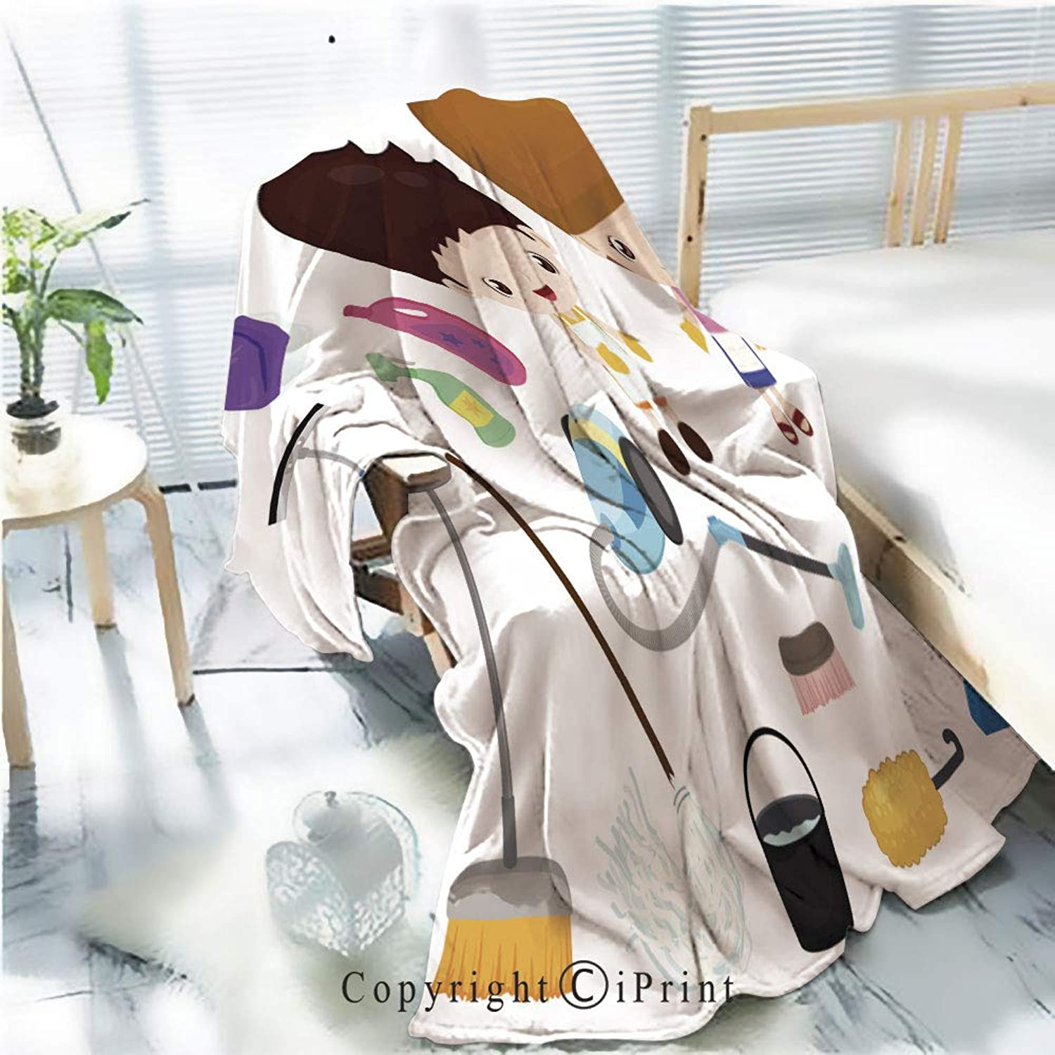 Flannel Printed Blanket for Warm Bedroom,Cleaning Tools Kids Set,Cracked Burning Earth Decorative,One Side Printing,W47.2 x H78.7
