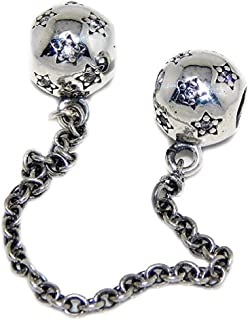 ICYROSE Solid 925 Sterling Silver Stars w/White Crystal CZ Safety Chain Charm Bead for European Snake Chain Bracelets