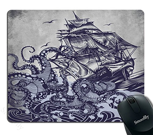 Smooffly Mouse Pad Personalized Octopus,Customized Rectangle Non-Slip Rubber,Sail Boat Waves and Octopus Old Look Gaming Mouse Pad