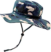 Sun Hat Men Camouflage, Women Breathable Mesh Boonie Cap Adjustable Chin Strap, Boys Girls Summer Packable Bucket Hats Sun&UV Protection Outdoor Visor Floppy Bonnet for Fishing Safari Beach Golf