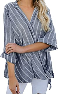 Rakkiss Women Stripe T-Shirt Loose Plus Size Long Sleeve Blouse Casual Pullover Tunic Top