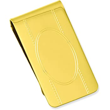 Length: 23 mm Width: 50mm Diamond2Deal Gold-Plated Kelly Waters Polished Hinged Money Clip