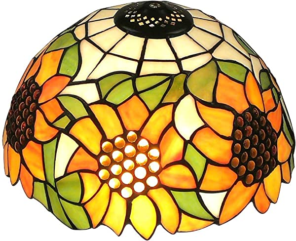 Upgrade Tiffany Style Sunflower Replacement Table Lamp Shades 12 Inch Width Stained Glass By WeiJuMei