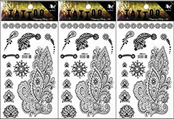 PP TATTOO 3 Sheets Peacock Flowers Tattoos Stickers Pattern Style Henna Make up Neck Shoulder Upper arm Thigh Body Art Tattoo for Women Men Sexy Fake Waterproof