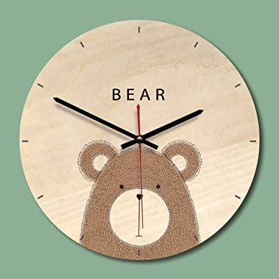 SEEKSUNG Wall Clock/Decoration, WoodenClock European Living Room Wood PrintingClock CreativeClock Round,A