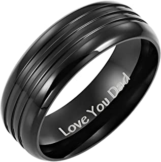 Willis Judd Men's DAD Black Titanium Ring with Engraved Love You Dad with Velvet Gift Box