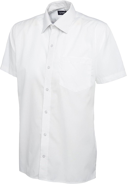 Hombre Camisa De Popelina de Manga Mitad Casual Formal Negocios Trabajo Uniforme Security uc710 [Negro] [2 xl]