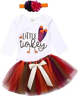 Newborn Infant Baby Girls Thanksgiving Outfits Little Turkey Romper Bodysuit Tutu Skirt Headband Set 0-24M