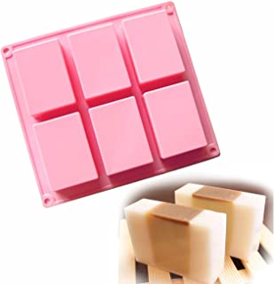 Allforhome(TM) 6 Cavity 3D Plain Rectangle Silicone Soap DIY Molds Homemade Craft Art Candy Cake Moulds Handmade Soap Mold Soap Bar Mold
