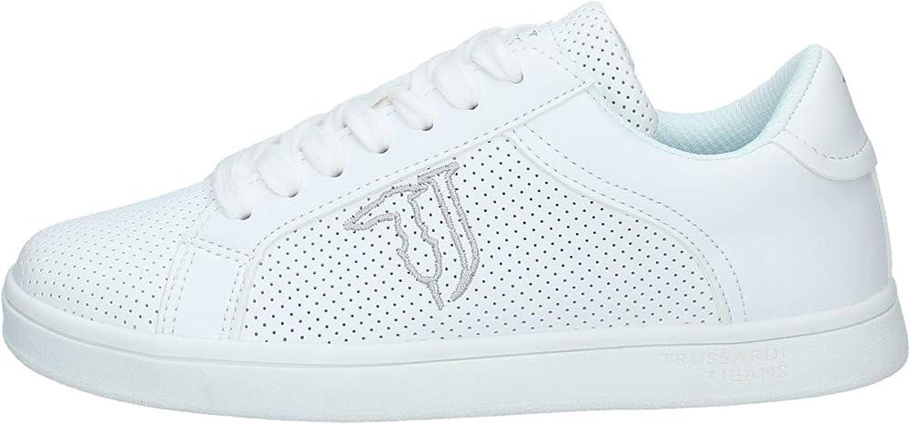 Trussardi jeans,scarpe sneakers per donna,in pelle microforata sintetica 79a00528