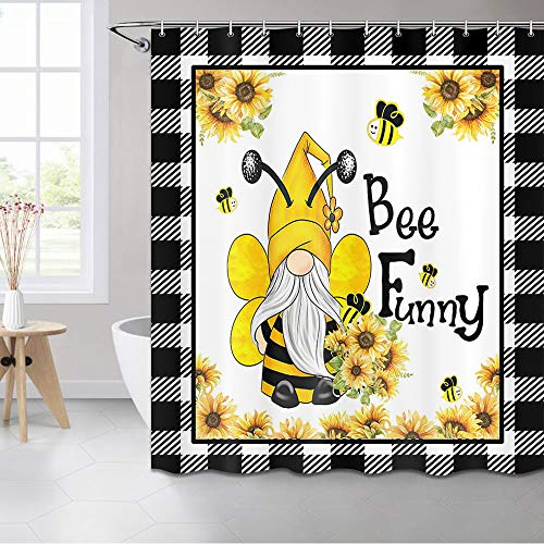 MERCHR Farmhouse Shower Curtain, Funny Gnome Sunflowers and Cute Bees Buffalo Check Plaid Shower Curtain, Yellow Floral Fabric Country Modern Shower Curtain with Hooks, 72X72 Inch