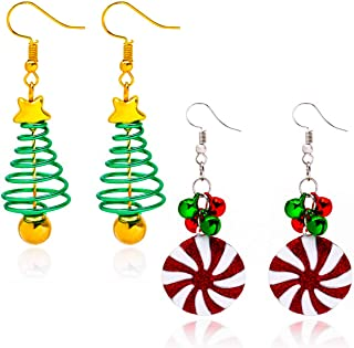 2 Pcs DIY Christmas Dangle Earrings for Women Girls Handmade Holiday Party Drop Earrings Christmas Tree Jingle Bells Design So Cute Gifts for Her