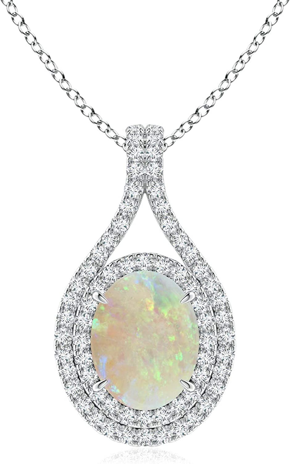 Oval Opal Double Discount mail order Halo Loop in 9x7mm Platinum Pendant Direct sale of manufacturer