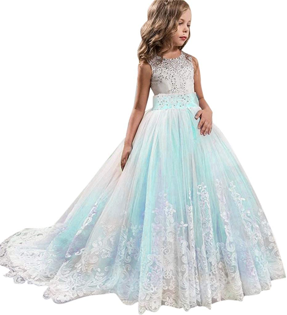 Little/Big Girl Dress Kids Sleeveless Boho Wedding Embroidered Lace Tulle Birthday Party Bridesmaid Gowns