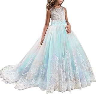 YWLINK Spitze Abendessen MäDchen Prinzessin Brautjungfer Festzug Tutu TüLl ÄRmellos Festival Kleiden Elegant Maxi Kleid Party Hochzeitskleid