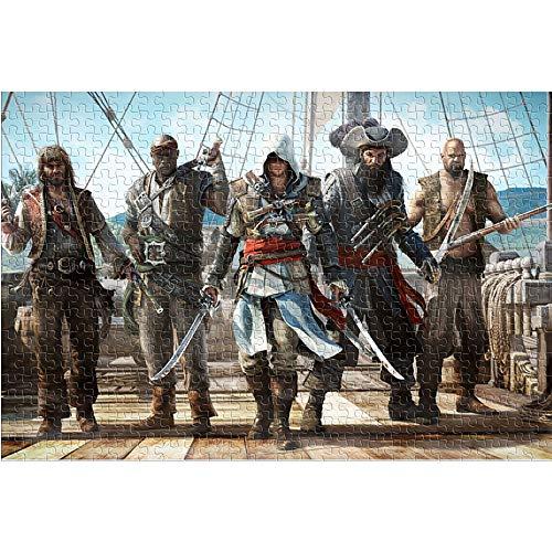 KKASD Puzzle Adulto 1000 Piezas Assassin'S Creed. Black Flag Rompecabezas de 1000 Piezas Movie Role Juguete de Rompecabezas de desafío Cerebral de Arte de Rompecabezas de lógica (75x50cm)