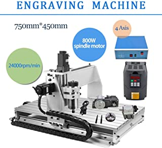 4 AXIS 800W 6040 Desktop CNC Router 3D Engraving Drilling Milling Machine 110V with 1605 Ball Screw and 1.5KW VFD