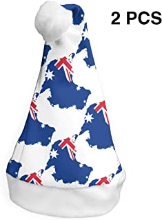 LXXTK 2Pcs Customized Flag Map of Australia Christmas Party Hat and Santa Hats Home Decor Accessories