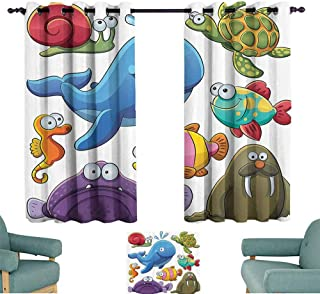 Mannwarehouse Whale Decor Collection Bedroom Curtain Group of Underwater Animals Sea Otter Slug Snail Summer Day Art Design Privacy Protection 55