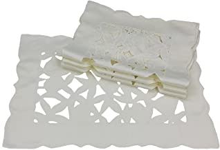 Xia Home Fashions Tulip Bouquet Embroidered Cutwork Spring Placemats, 12 by 18-Inch, White, Set of 4