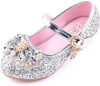 通用 HB Girls Princess Ballet Shoes Plat Glitter Low Heel Dance Party Shoes