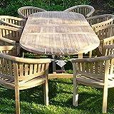 Luxus Home And Garden - Juego de muebles de jardín de teca ovalada de 200 a 300 cm, mesa extensible (8 sillas San Francisco)