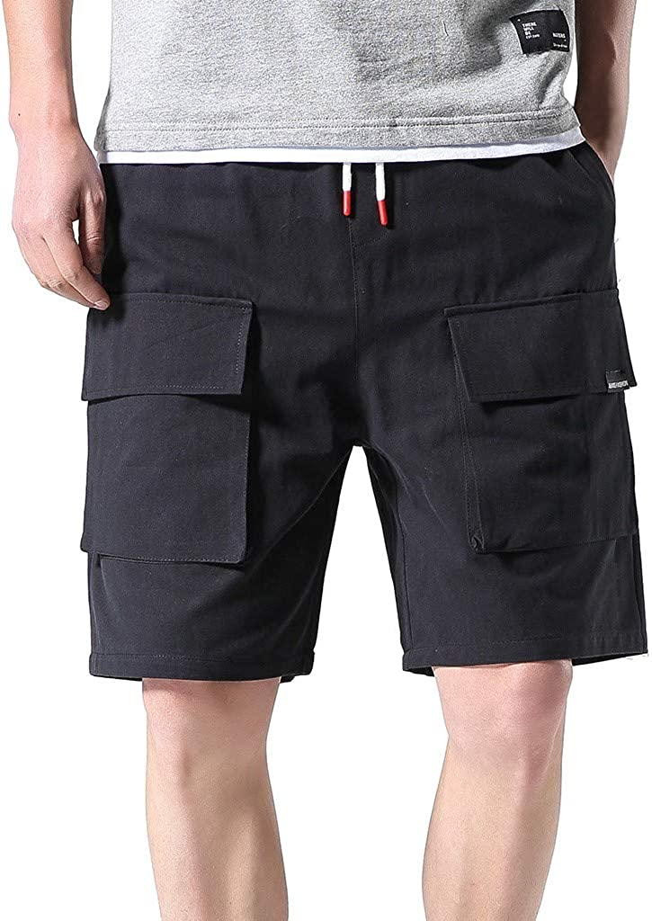 DIOMOR Mens Casaul Outdoor Big and Tall Cargo Shorts Elastic Waist Multi Pockets Trunks Relaxed Fit Fashion Hiking Pants